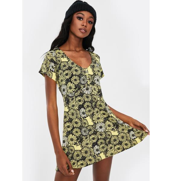 Obey Pedal Floral Mini Dress