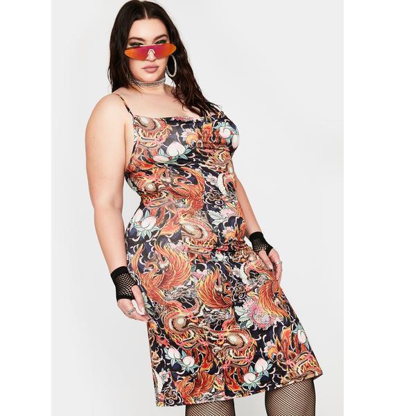 NEW GIRL ORDER Plus Phoenix Dragon Print Slip Dress