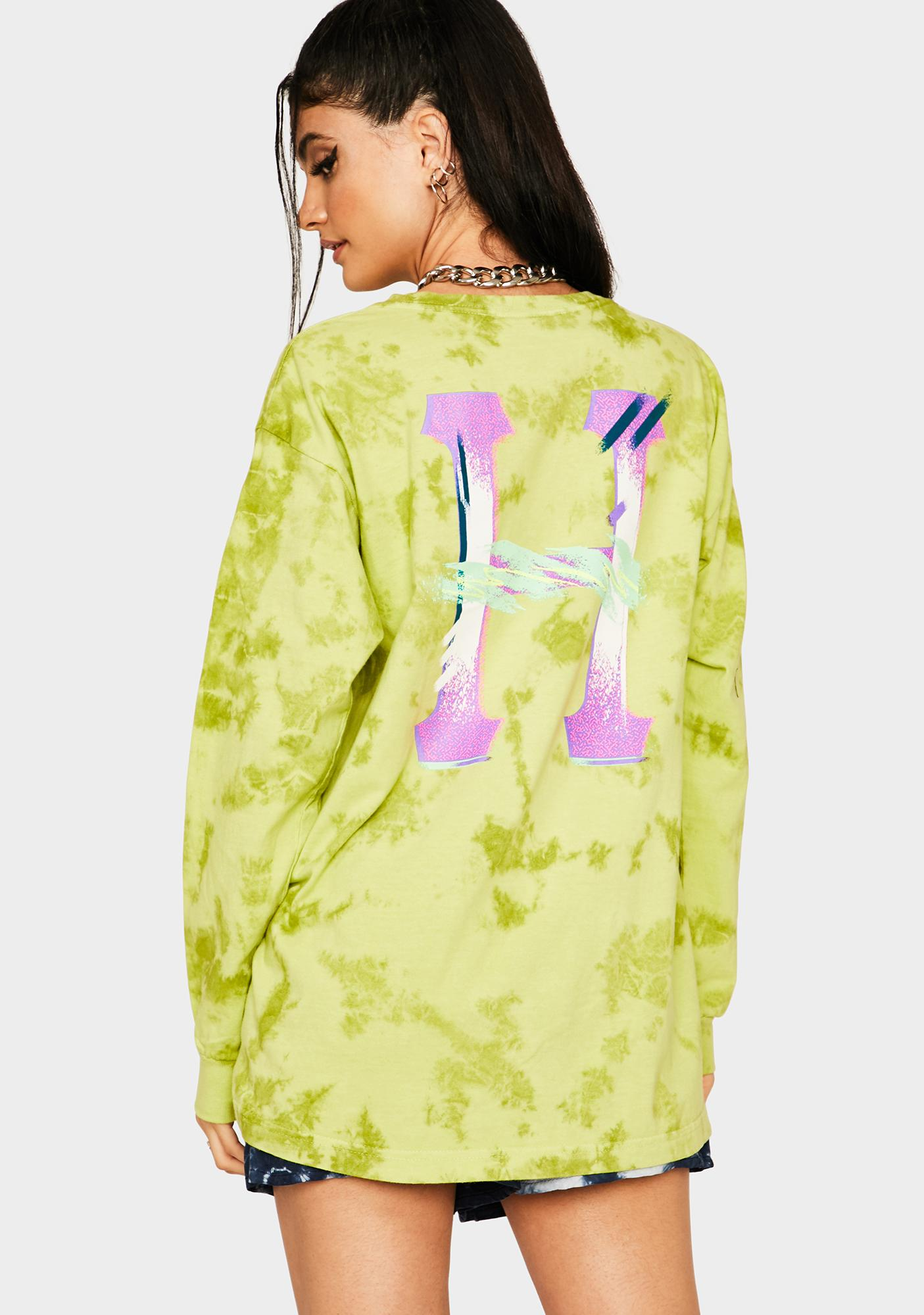 HUF Safety Green Classic H Watercolor Long Sleeve Tee