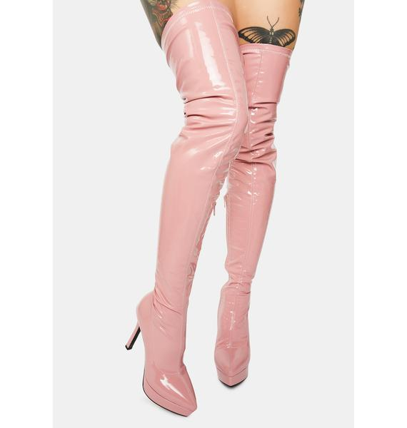 Poster Grl Money Making Moves Pink Thigh High Boots