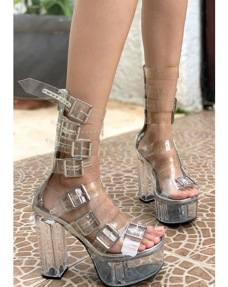Level Up Platform Buckle Heels