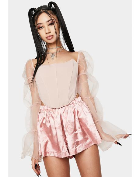 Blush Statement Sleeve Corset Top