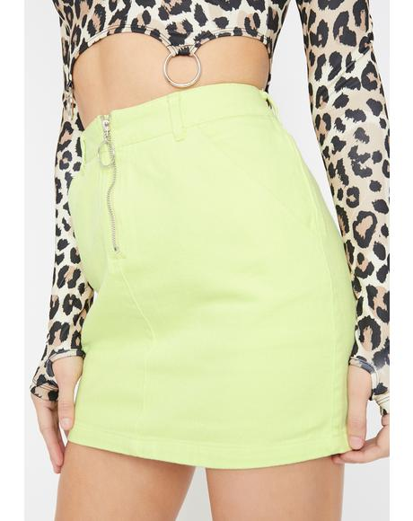 Lime Bardi Gang Denim Skirt