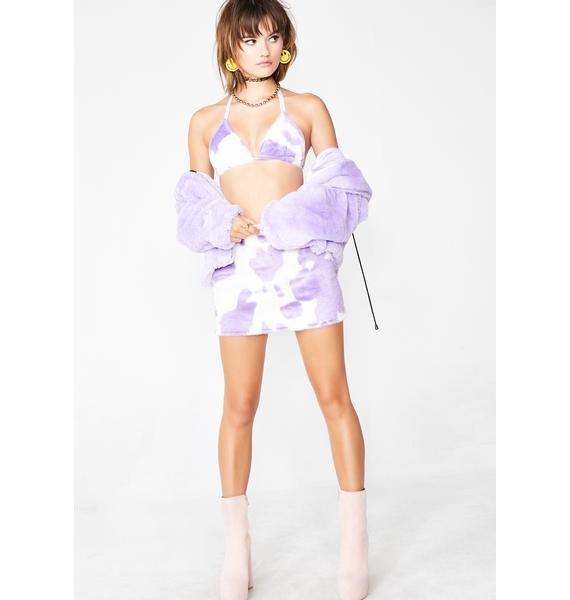 Tiar Fluffy Lilac Cow Bra Top