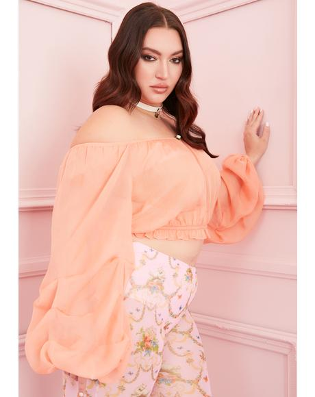 Peach I'm Worth The Wait Sheer Blouse
