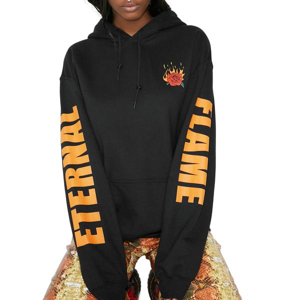 Petals and Peacocks Flaming Rose Pullover Hoodie