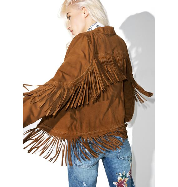 Goosecraft Heart Of Gold Fringe Leather Jacket