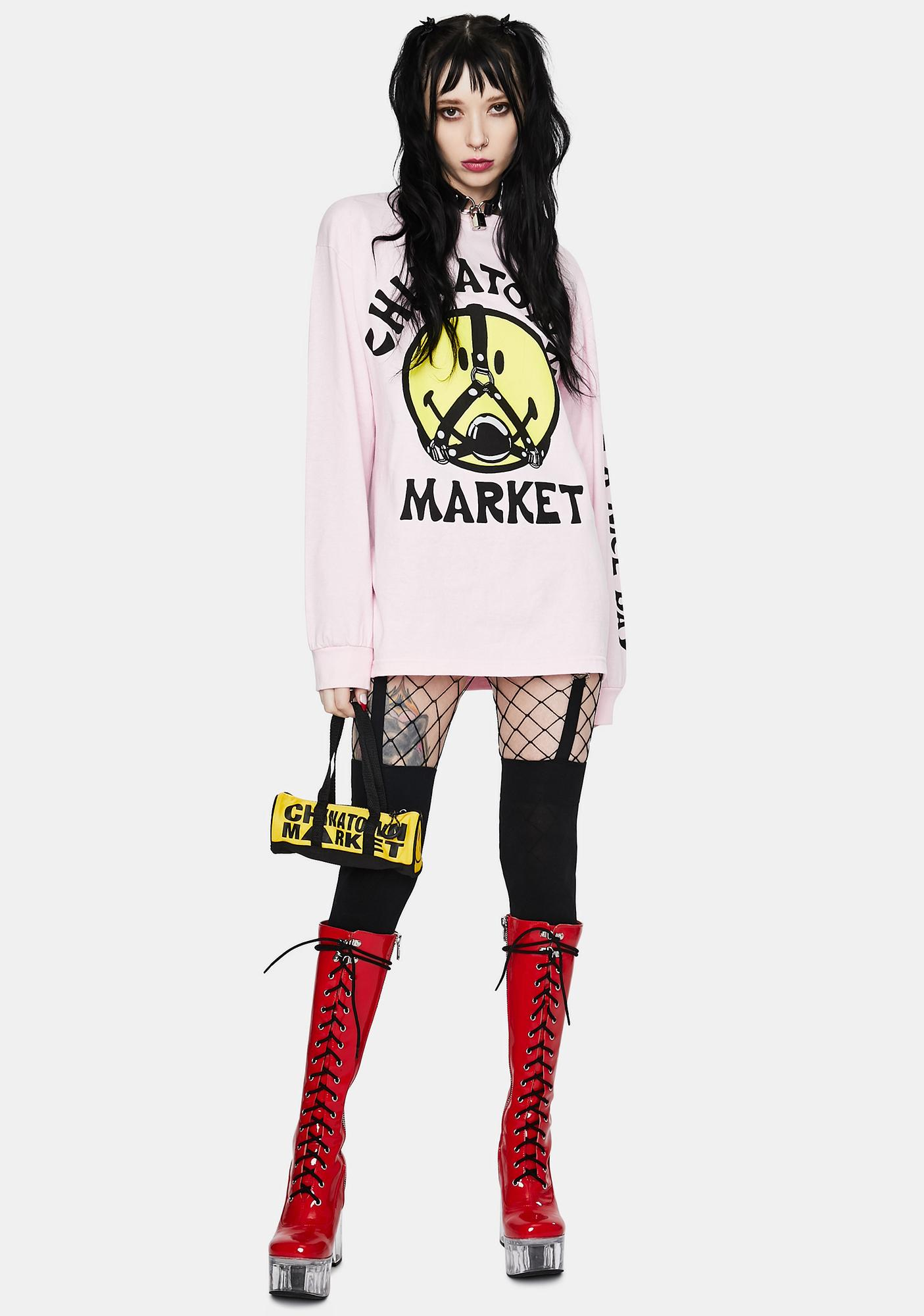 CHINATOWN MARKET Pink Smiley Ball Gag Long Sleeve Graphic Tee
