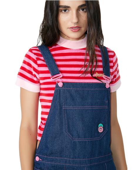 Indigo Pink Stitch Dungaree Dress