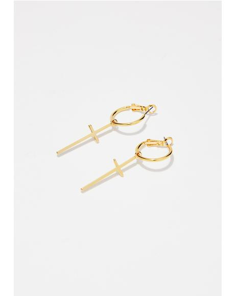 Pray No Evil Cross Earrings