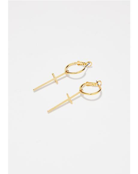 Pray No Evil Cross Earrings