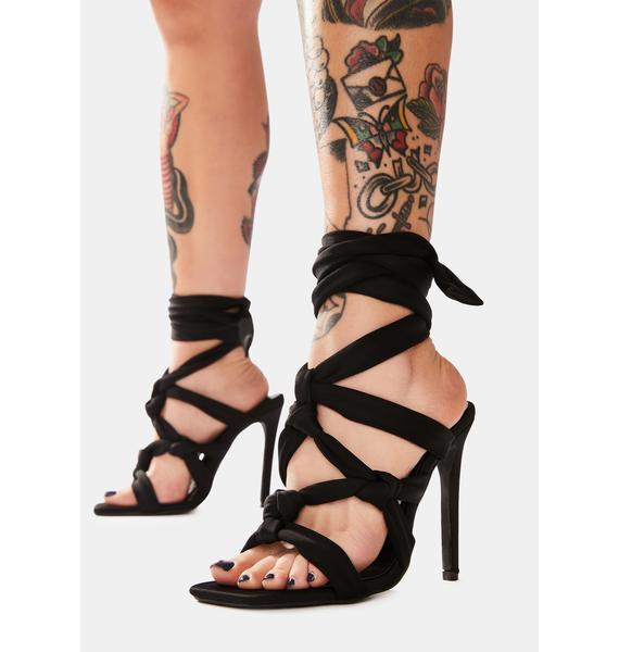 Public Desire Black Convo Knotted Lace Up Stiletto Heels