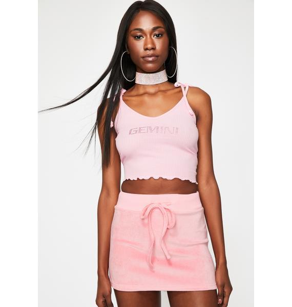 HOROSCOPEZ Pastel Planet Velour Mini Skirt