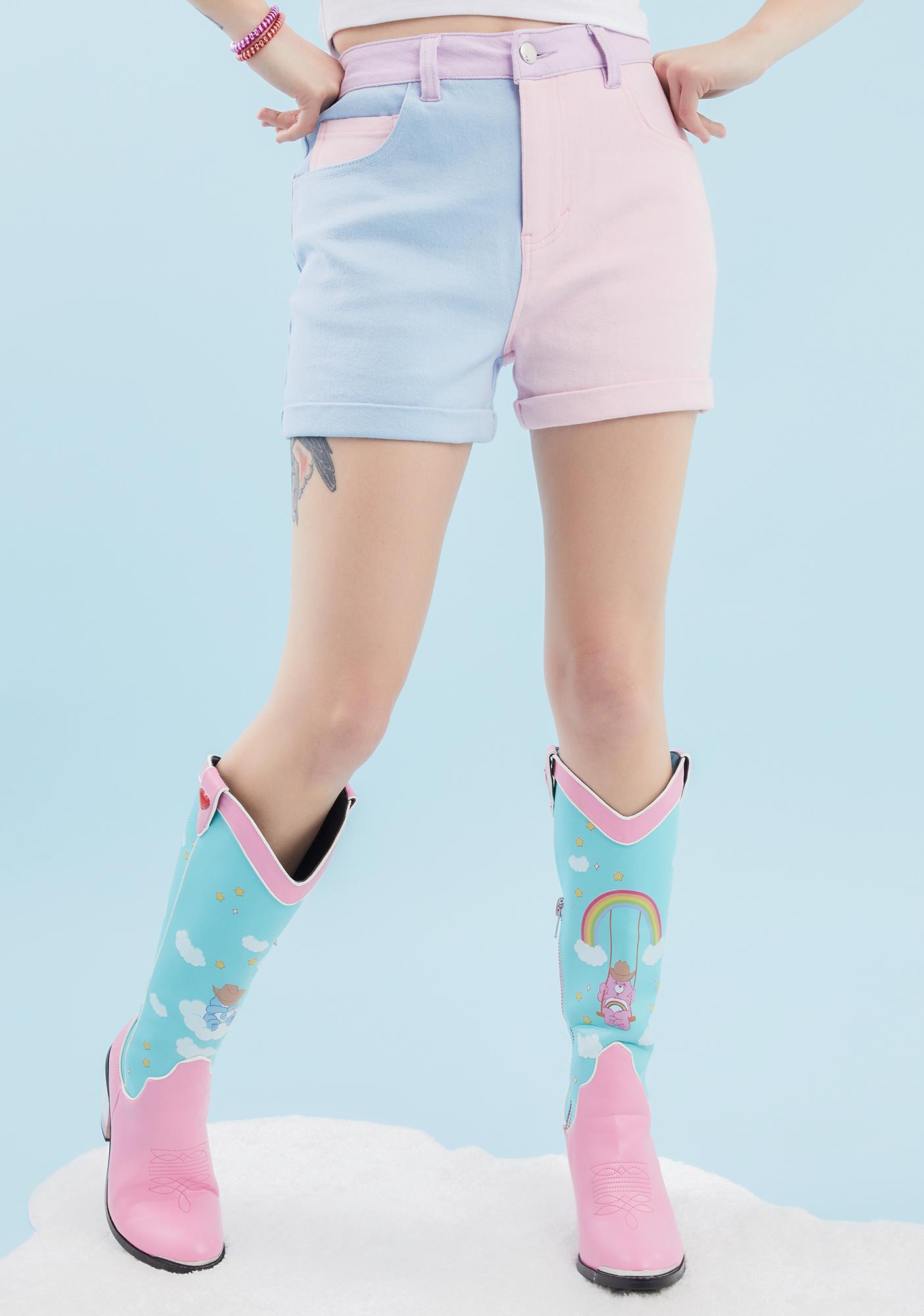 Dolls Kill x Care Bears Just Add Love Colorblock Shorts