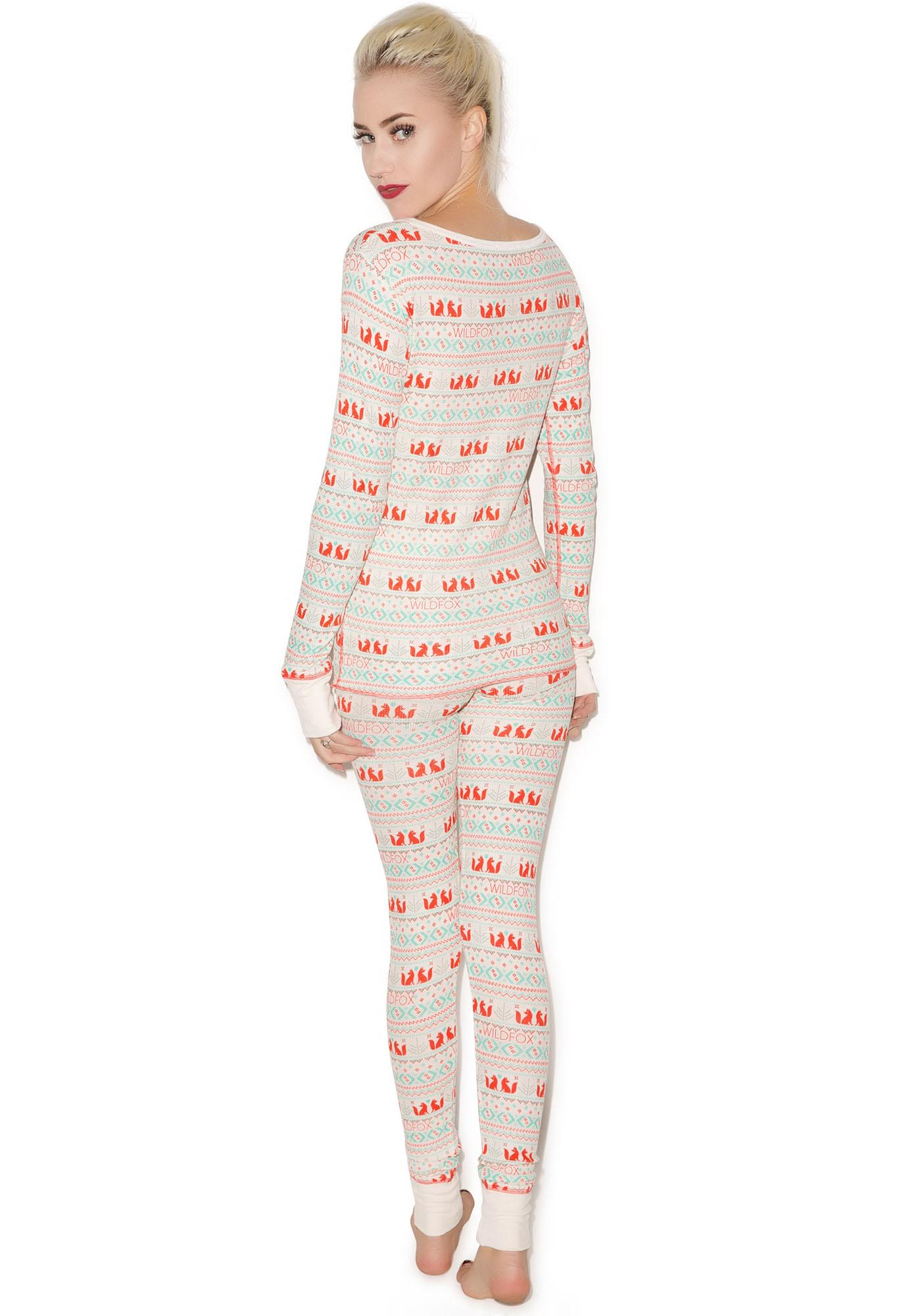 Wildfox Couture Fox Print Ski Bunny Pajama Set