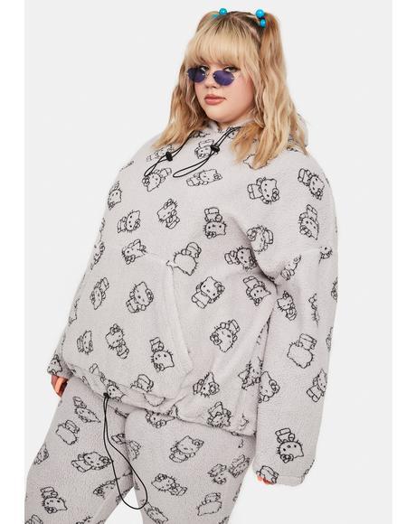 Curve Grey Hello Kitty Printed Fleece Hoodie