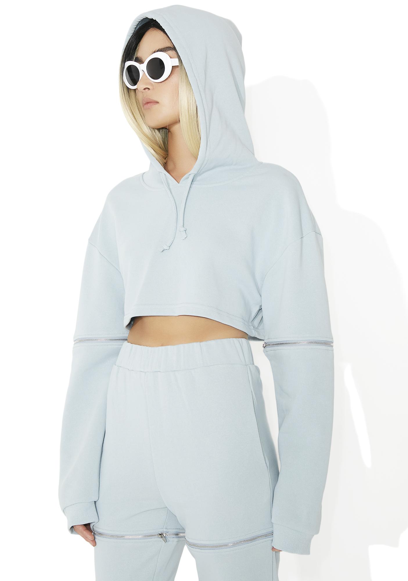 Grey Zip Cropped Hoodie