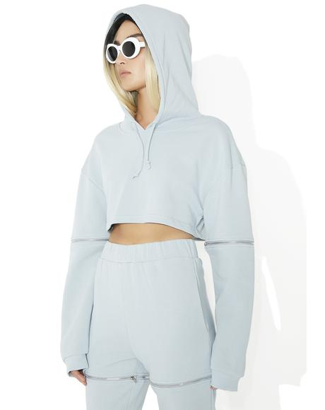 Washed Out Zipped Crop Hoodie