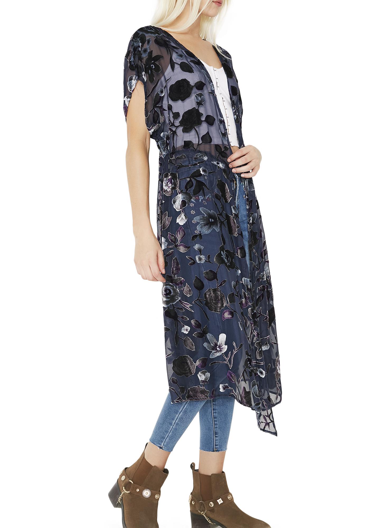 Sheer Navy Blue Floral Velvet Kimono