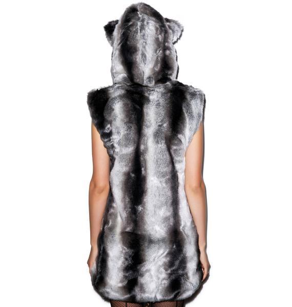 J Valentine Chinchilla Hooded Vest