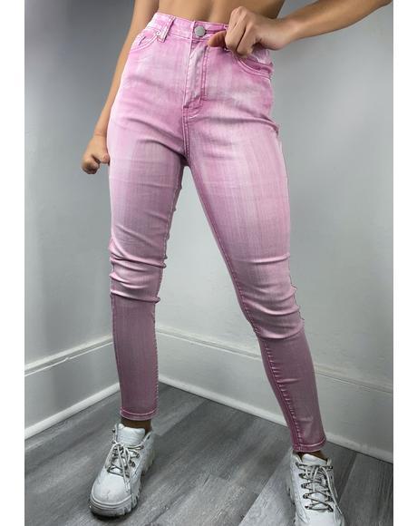 Pink Acid Wash Skinny Jeans