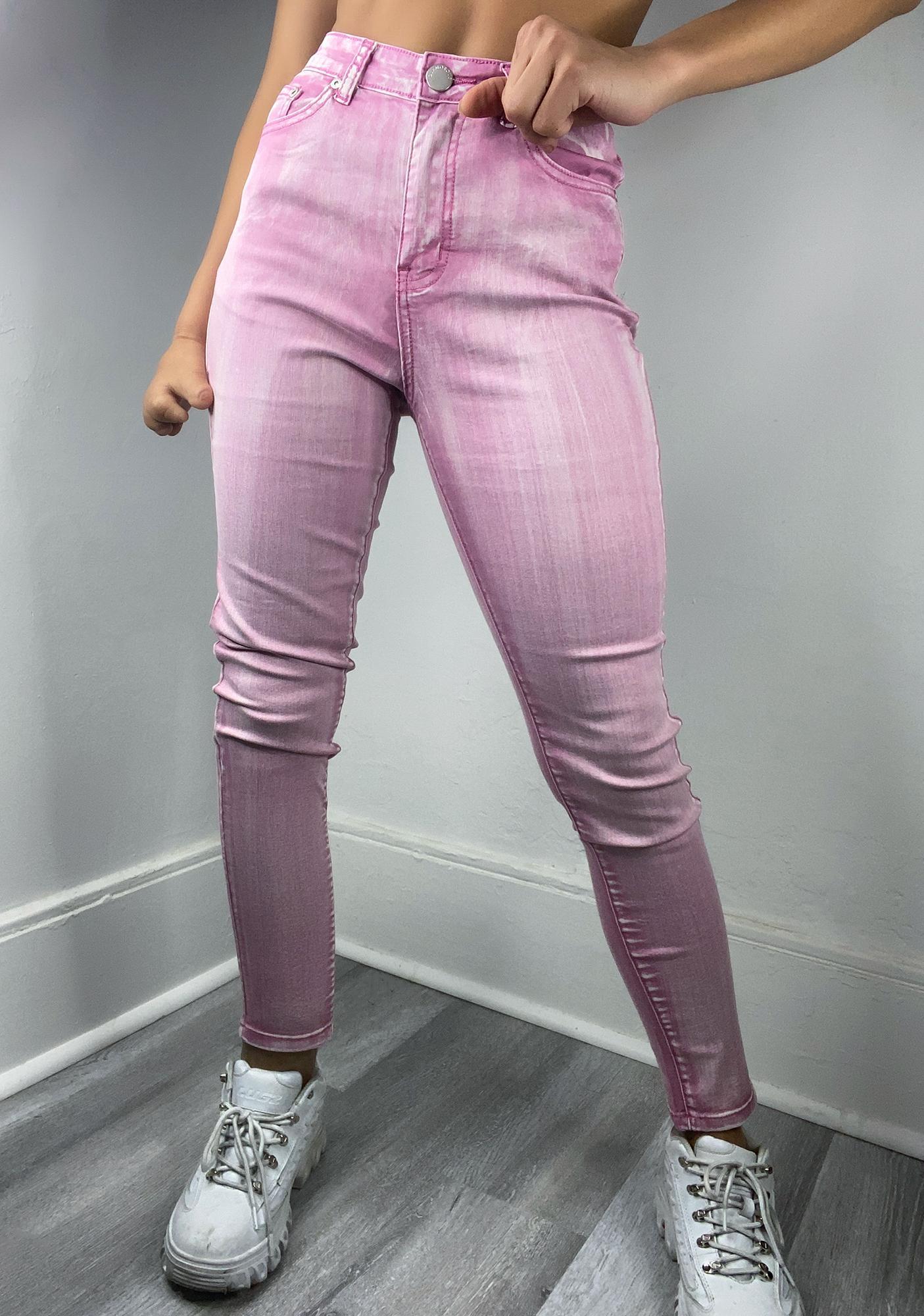 Glamorous Pink Acid Wash Skinny Jeans