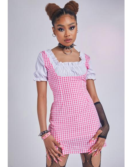 Kiss Cherished In Paris Underbust Gingham Dress
