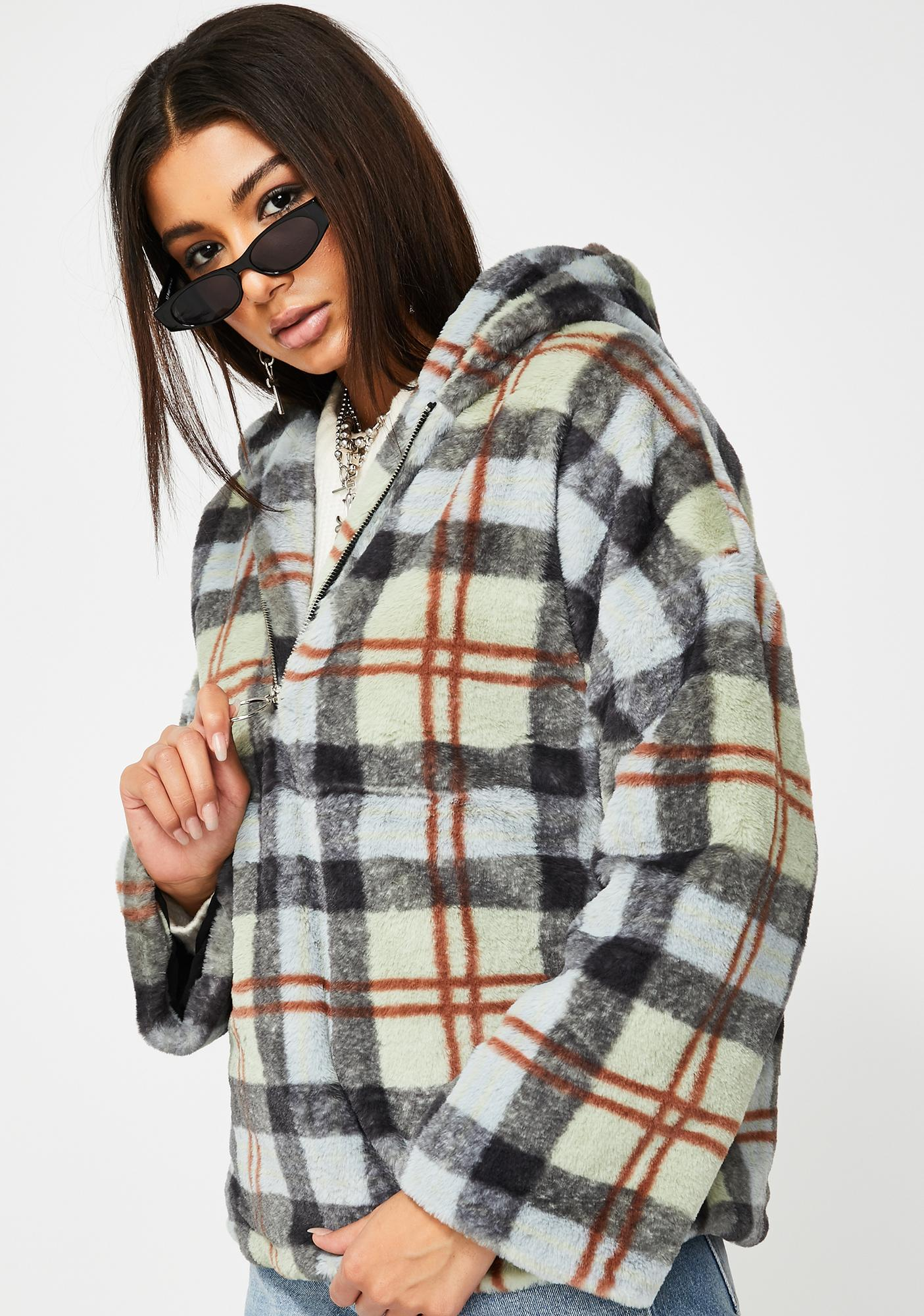 Glamorous Plaid Hooded Teddy Jacket