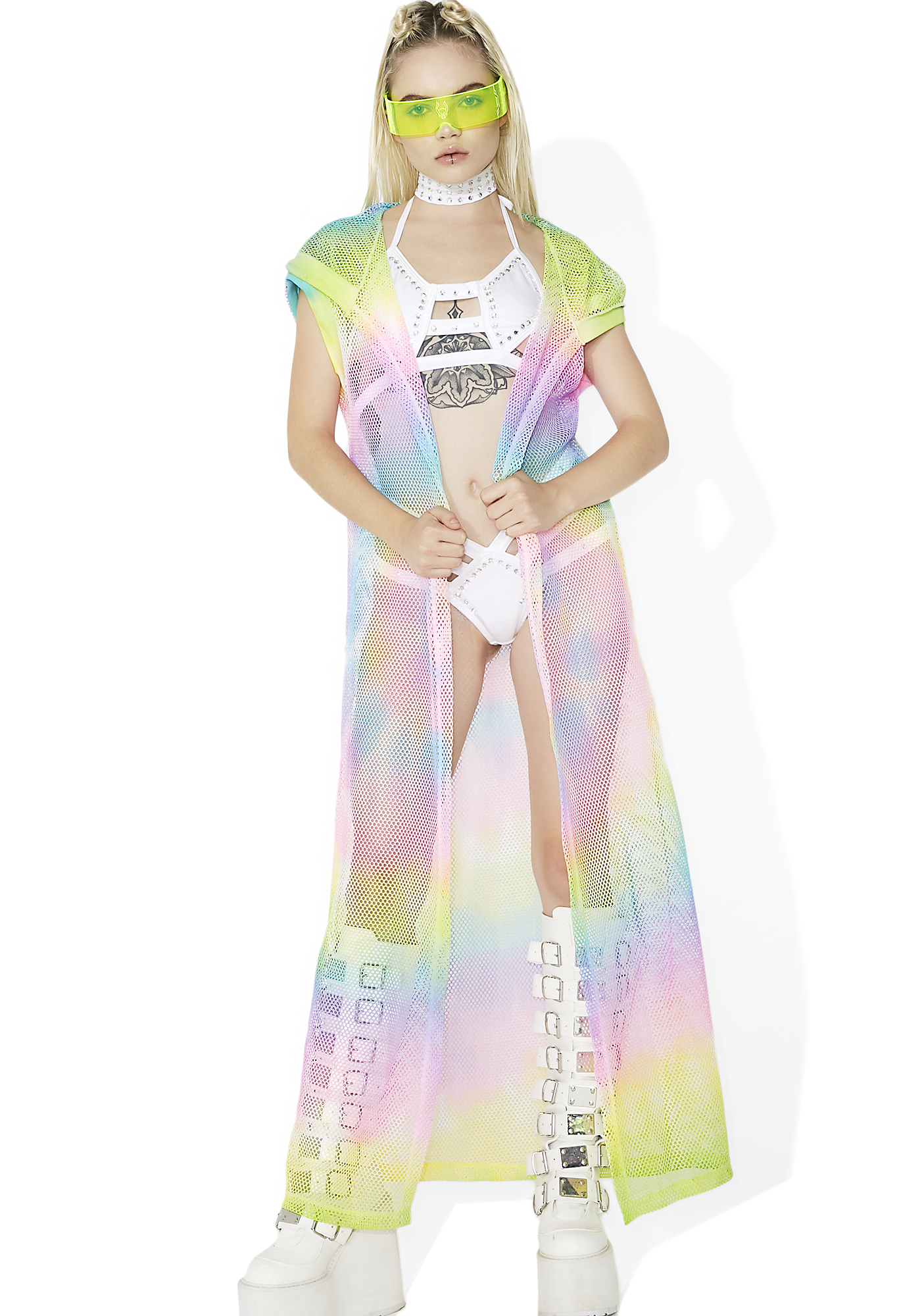 Sheer Mesh Hooded Duster Pastel Rainbow Tie Dye