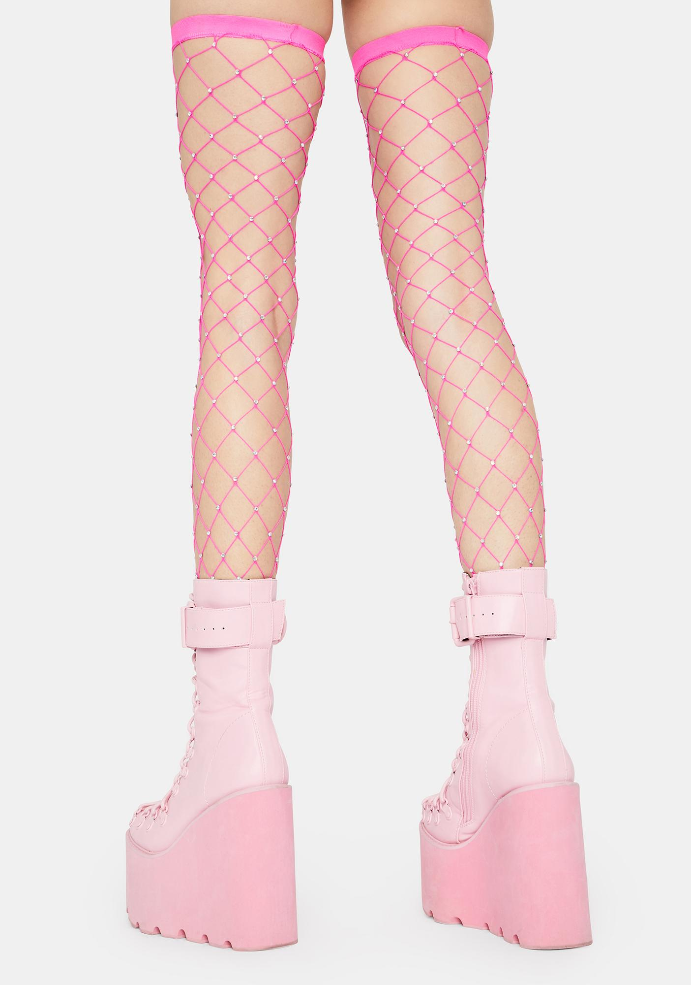 Bubblegum Shinin' Bright Fishnet Thigh Highs