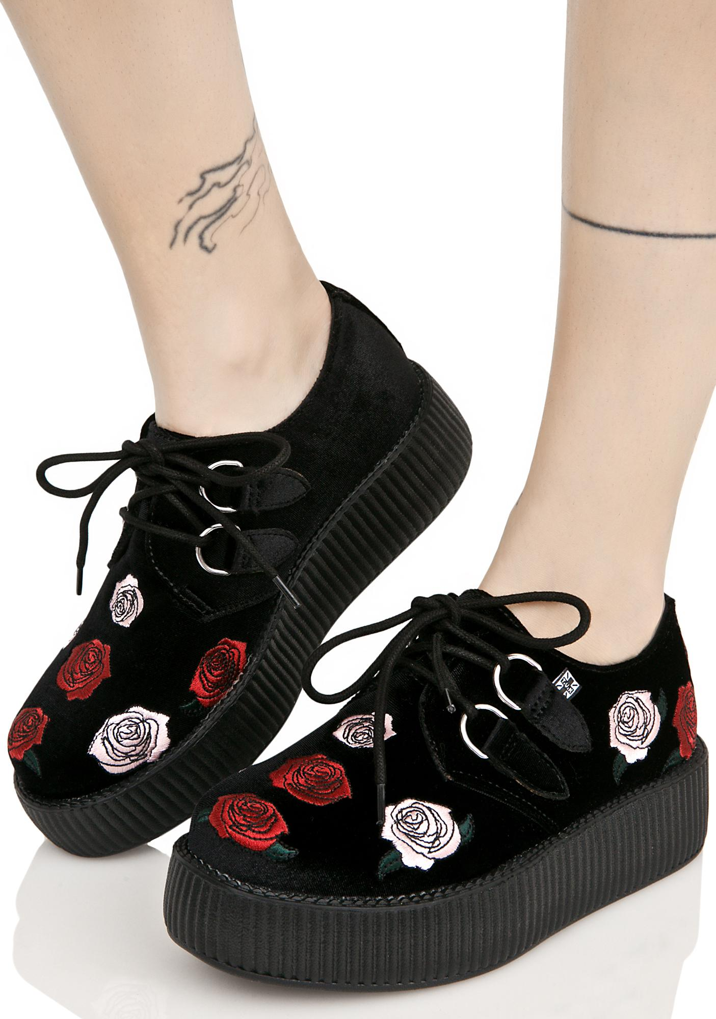 T.U.K. Black Velvet Creepers With Roses