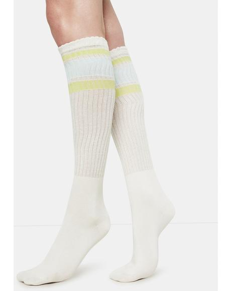 Rugby Stripe Knee High Socks