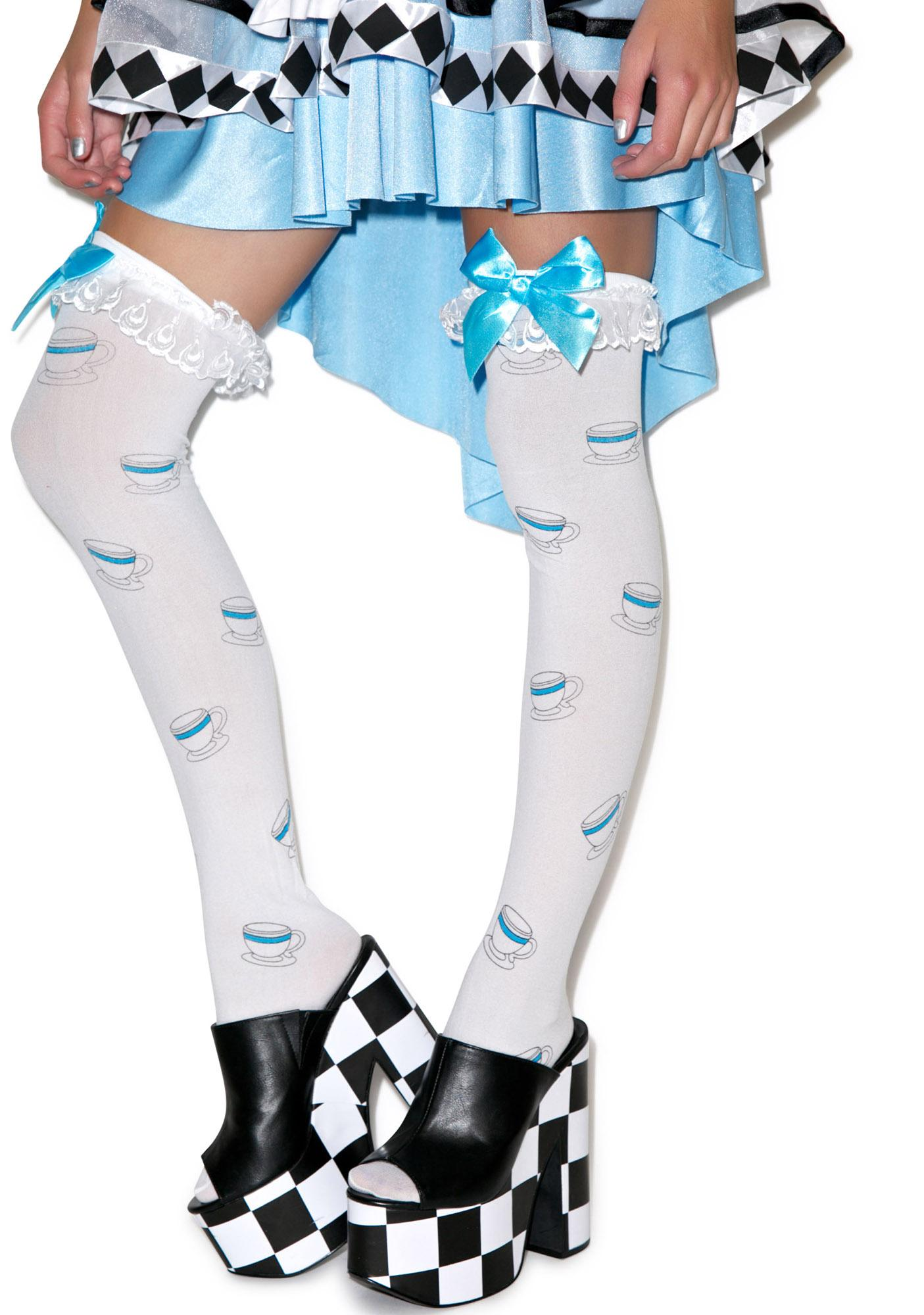 Tea Cup Ruffle Thigh Highs