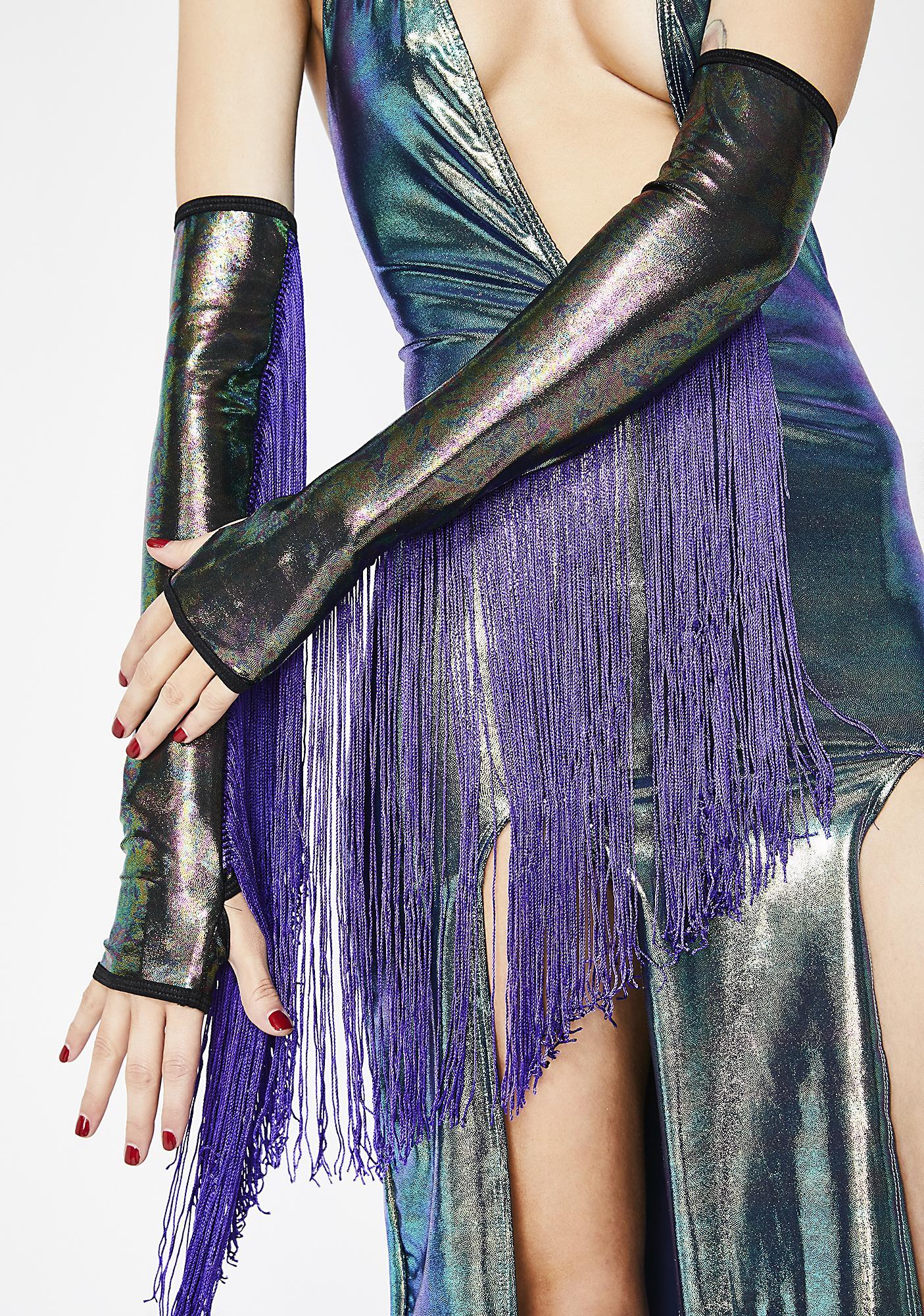 Club Exx Oil Slick Goddess Fringe Gloves