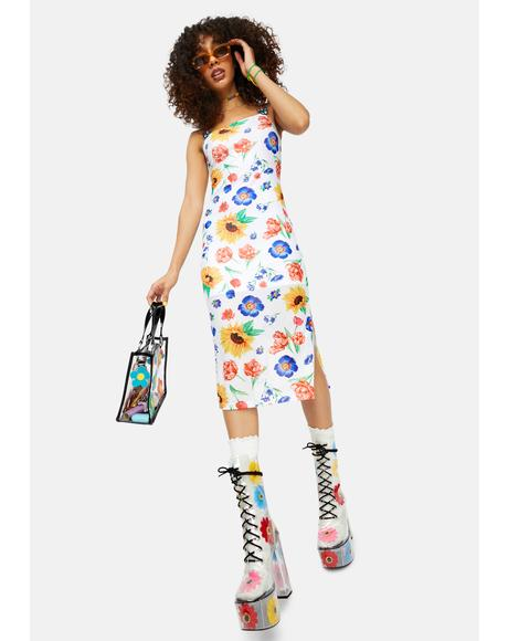 Here Comes The Sun Floral Mesh Midi Dress