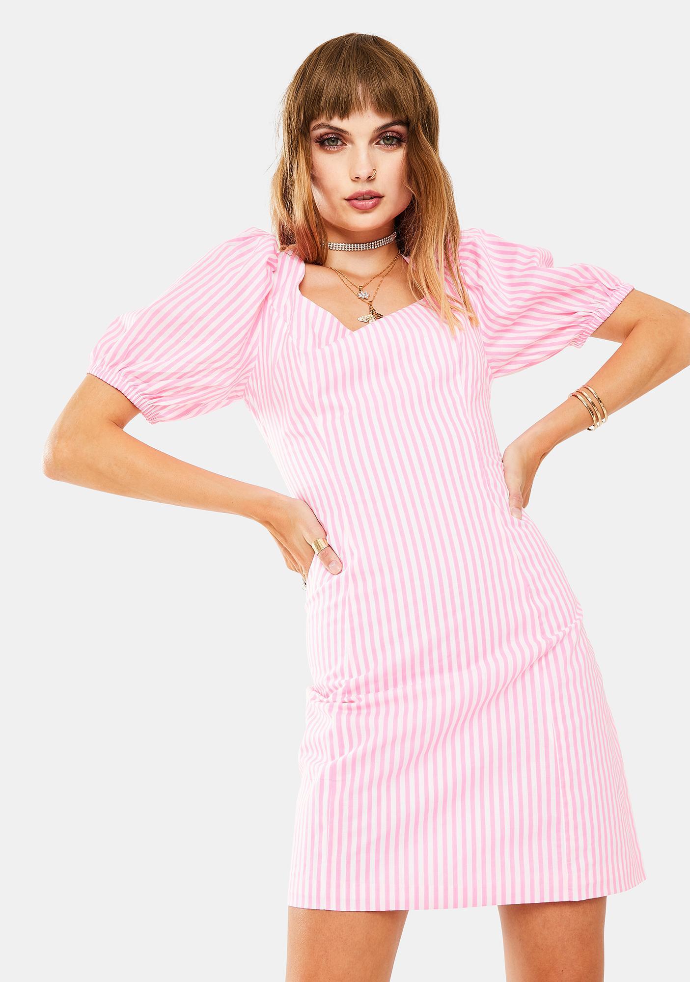 Glamorous Neon Pink Puff Sleeve Mini Dress