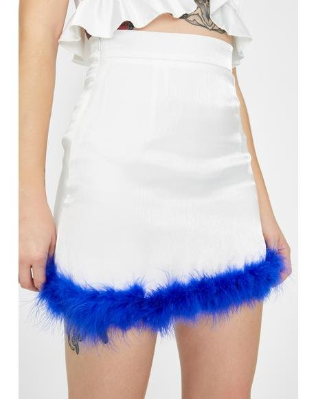 Blue Feather Fly Mini Skirt