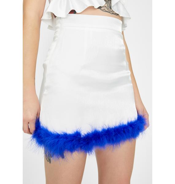 ZEMETA Blue Feather Fly Mini Skirt