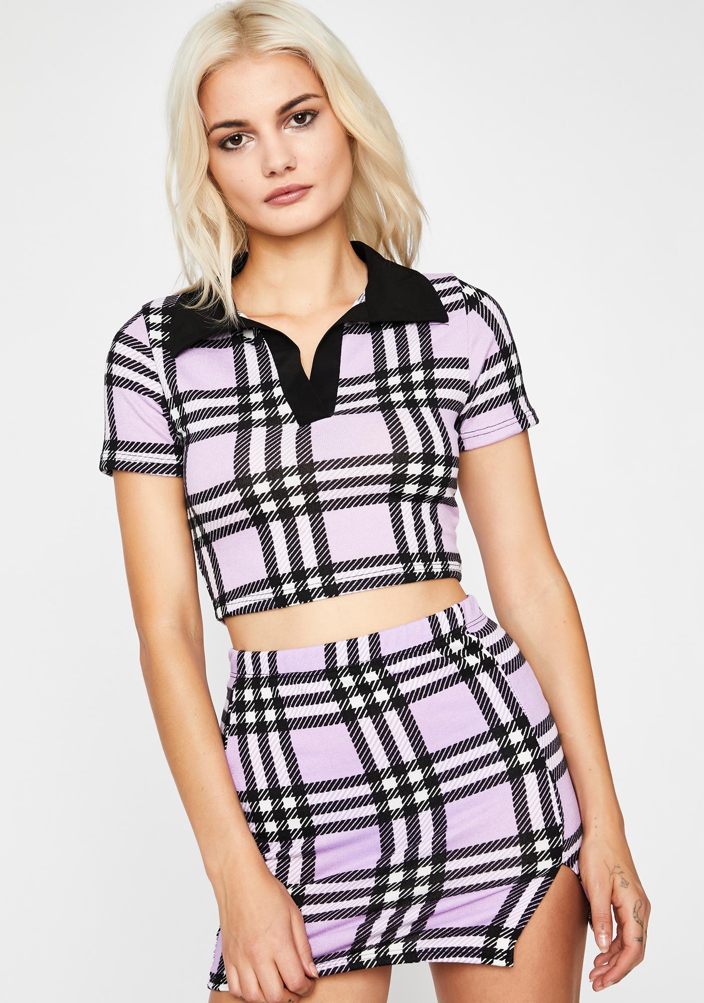 School Girl Plaid Polo Crop Top Mini Skirt Front Slit Set Dolls Kill