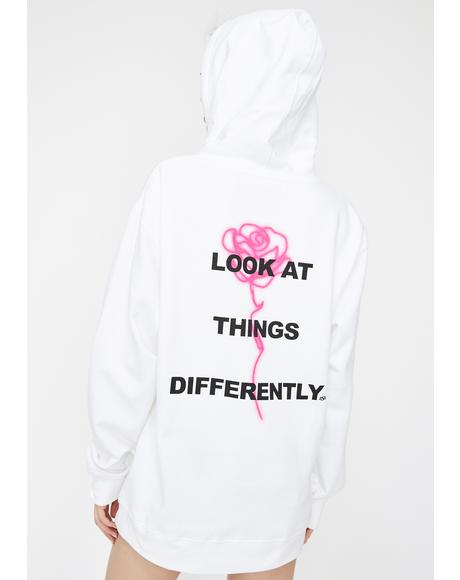 White Perspective Graphic Hoodie