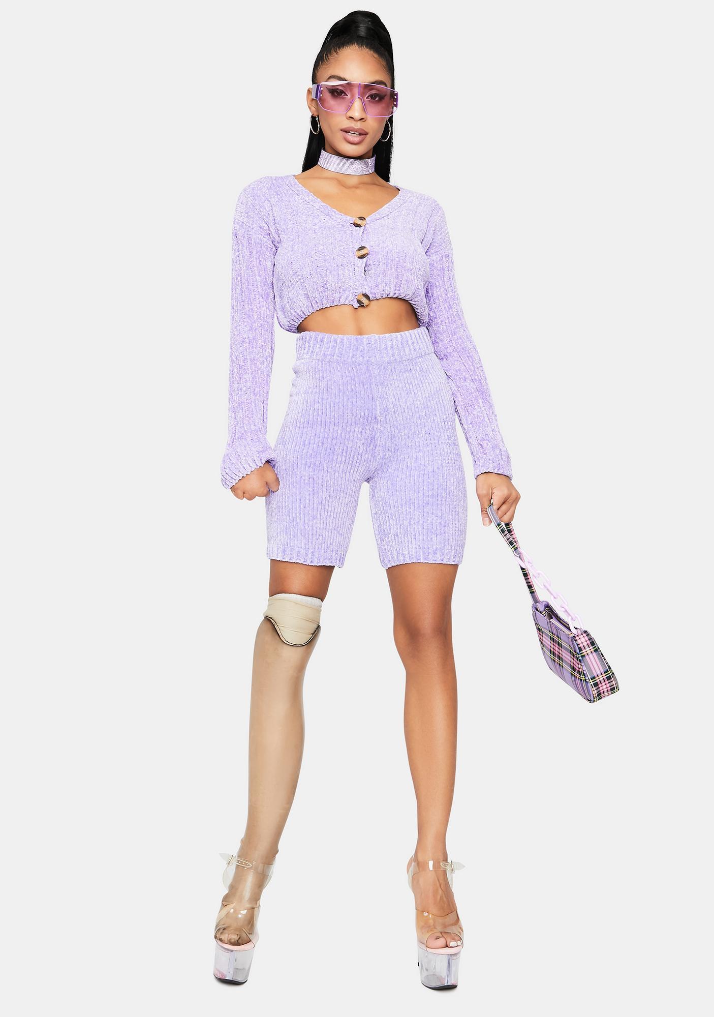 Lilac Luxe in Love Knit Biker Shorts