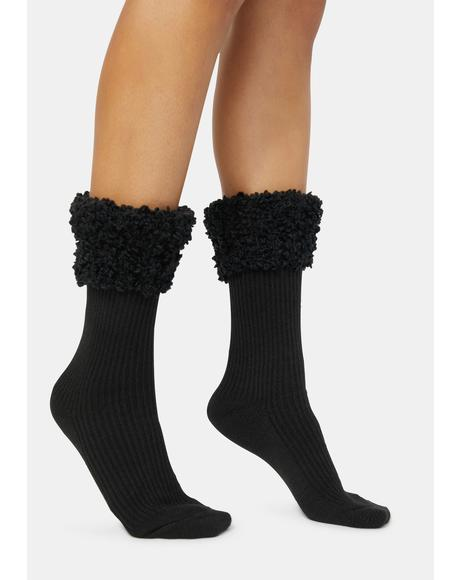 Black Elegant Ribbed Cuff Crew Socks