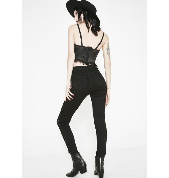 Momokrom Lace Up Skinny Pants