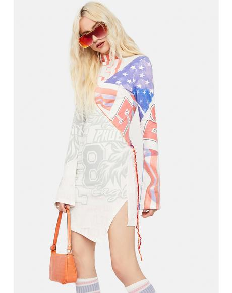Varsity Flag Print Cut & Sew Long Sleeve Jersey Dress