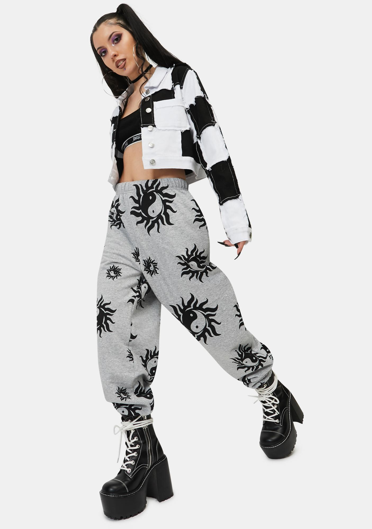 NEW GIRL ORDER Yin Yang Grey Marl Joggers