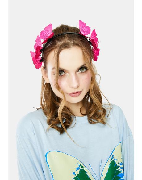 Sweet Wind Swept Butterfly Headband