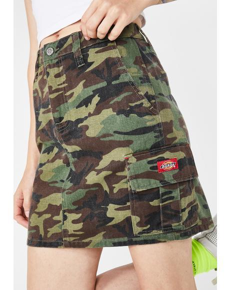 Twill Camo Cargo Skirt
