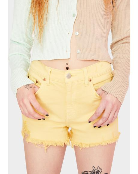 Golden Hour Troublemaker Distressed Denim Shorts
