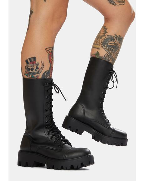 666 10-Eye Vegan Leather Boots