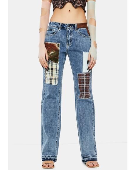 Patchwork Check Mid Rise Boyfriend Fit Jeans